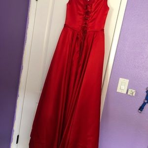 Off the shoulder red ball gown